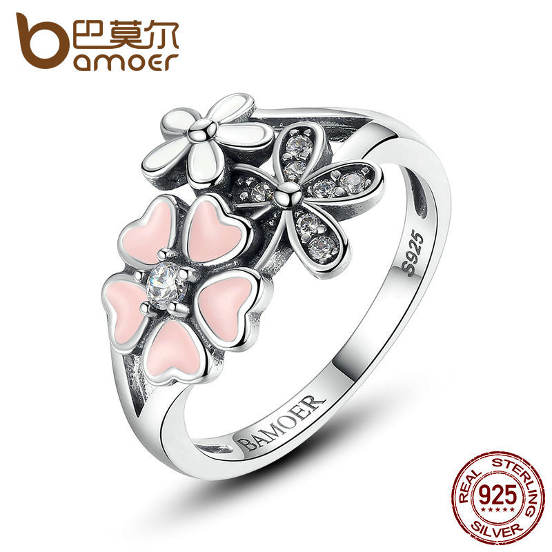 BAMOER 925 Sterling Silver Pink Flower Poetic Daisy Cherry Blossom Ring - All Things Jewelry