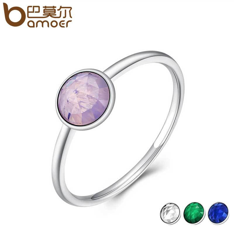BAMOER Genuine 925 Sterling Silver Birthstone Droplet Ring - All Things Jewelry