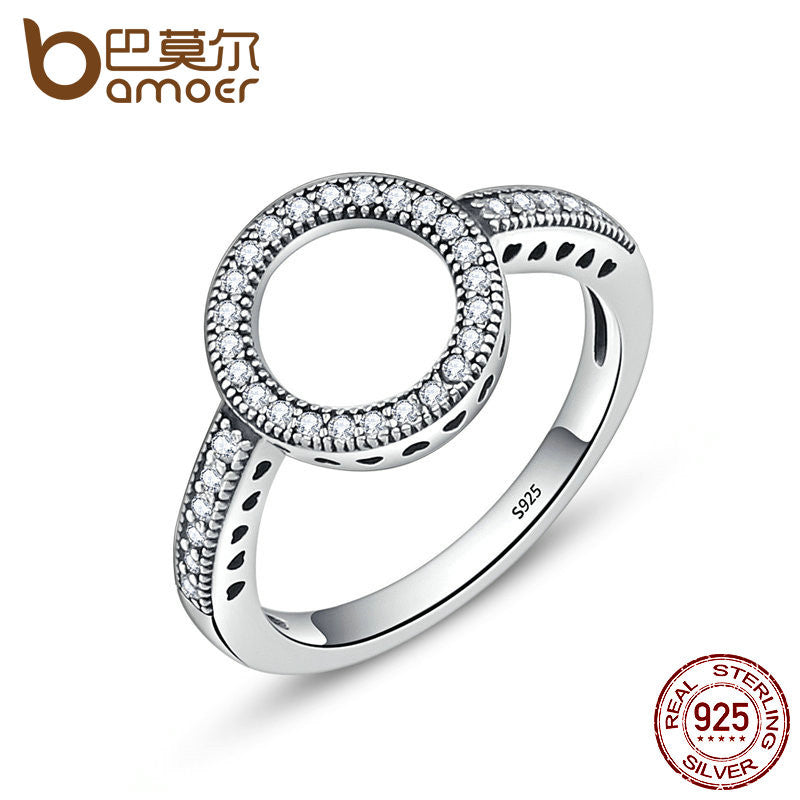 BAMOER 100% Genuine 925 Sterling Silver Forever Clear CZ Circle Ring - All Things Jewelry