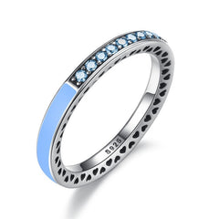 BAMOER 925 Sterling Silver Radiant Hearts Air Blue Enamel & Sky Blue Synthetic Spinel Ring - All Things Jewelry