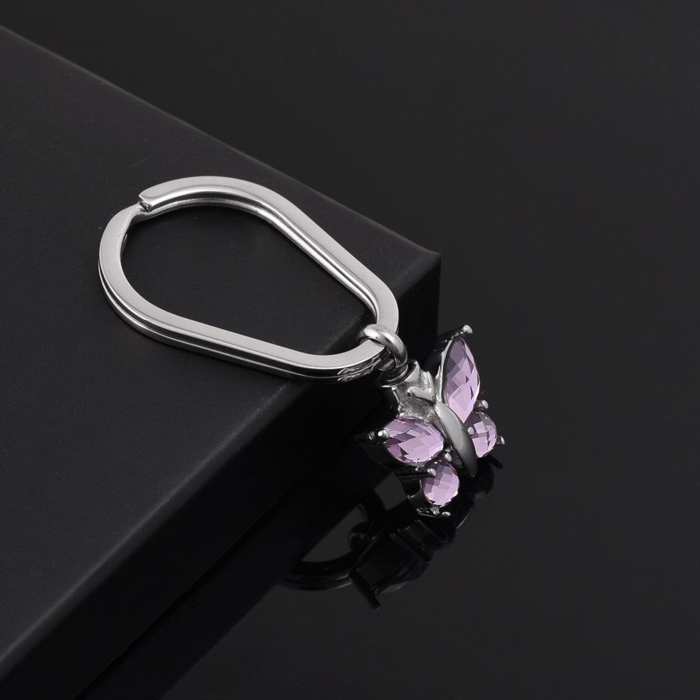Pink Crystal Butterfly Memorial Urn Key Chain - All Things Jewelry