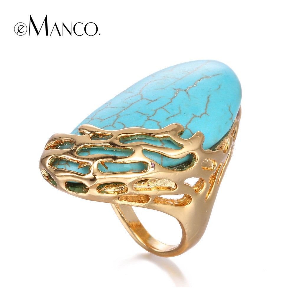 eManco Natural Stone Ethnic Vintage Geometric Statement Large Ring - All Things Jewelry