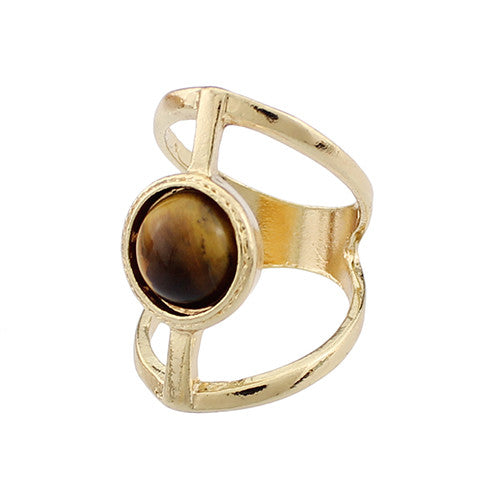 Natural Stone Ethnic Vintage Geometric Statement Large Ring - All Things Jewelry