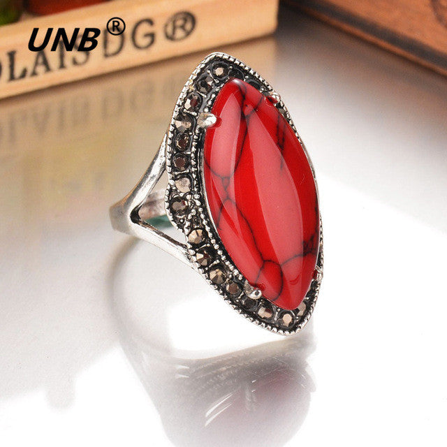UNB Natural Stone Ethnic Vintage Geometric Large Ring Silver Plated - All Things Jewelry