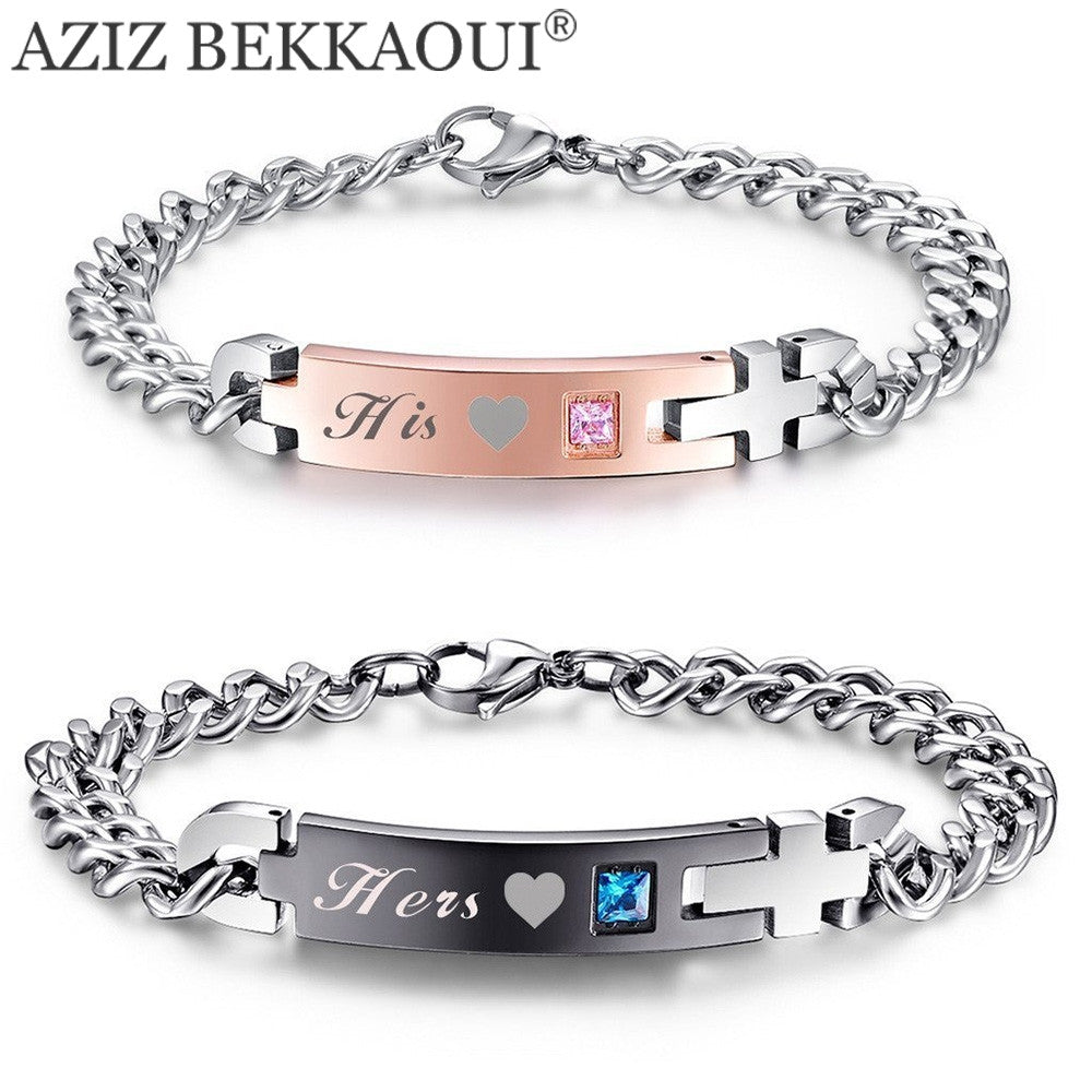 His & Hers Stainless Steel Matching Couple Bracelets Stainless Steel Bracelets For Women Men Jewelry - All Things Jewelry
