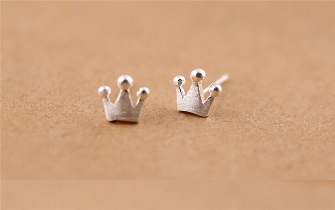 Fshion 925 Pure Sterling Silver Crown Stud Earrings - All Things Jewelry