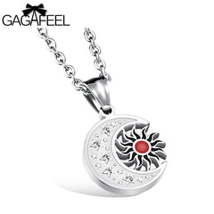 GAGAFEEL Moon Star Necklace Stainless Steel Cubic Zircon - All Things Jewelry