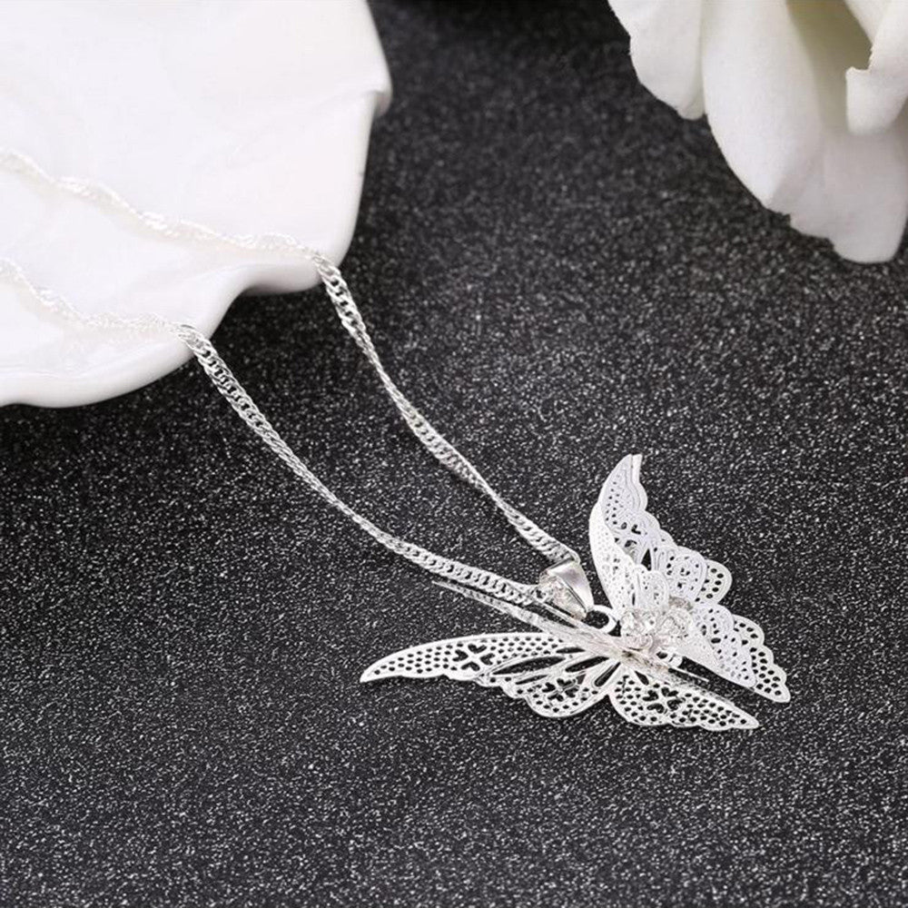 Lovely Butterfly Pendant Chain Necklace - All Things Jewelry