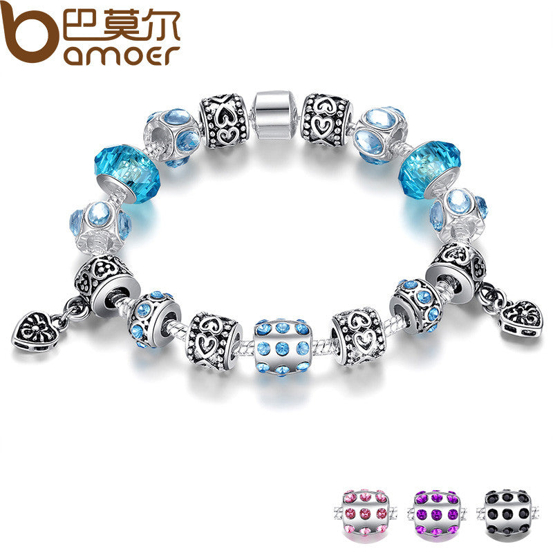 BAMOER European Style Silver Crystal Charm Bracelet With Blue Murano Glass Beads - All Things Jewelry