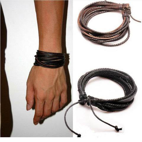Wrap Leather Bracelet Black and Brown Braided Rope - All Things Jewelry