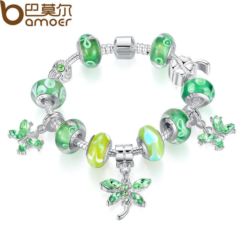 BAMOER  Silver Butterfly Charm Bracelet Bangle for Women With Green Glass Bead - All Things Jewelry