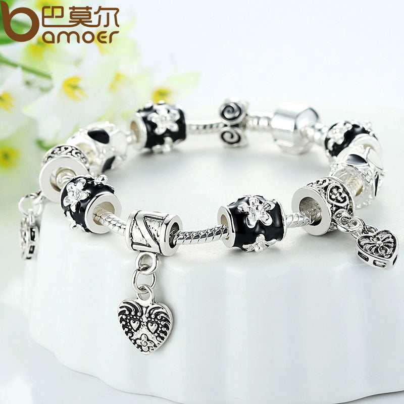 BAMOER Black Silver Heart Bead Charm Bracelet Silver 925 for Women - All Things Jewelry