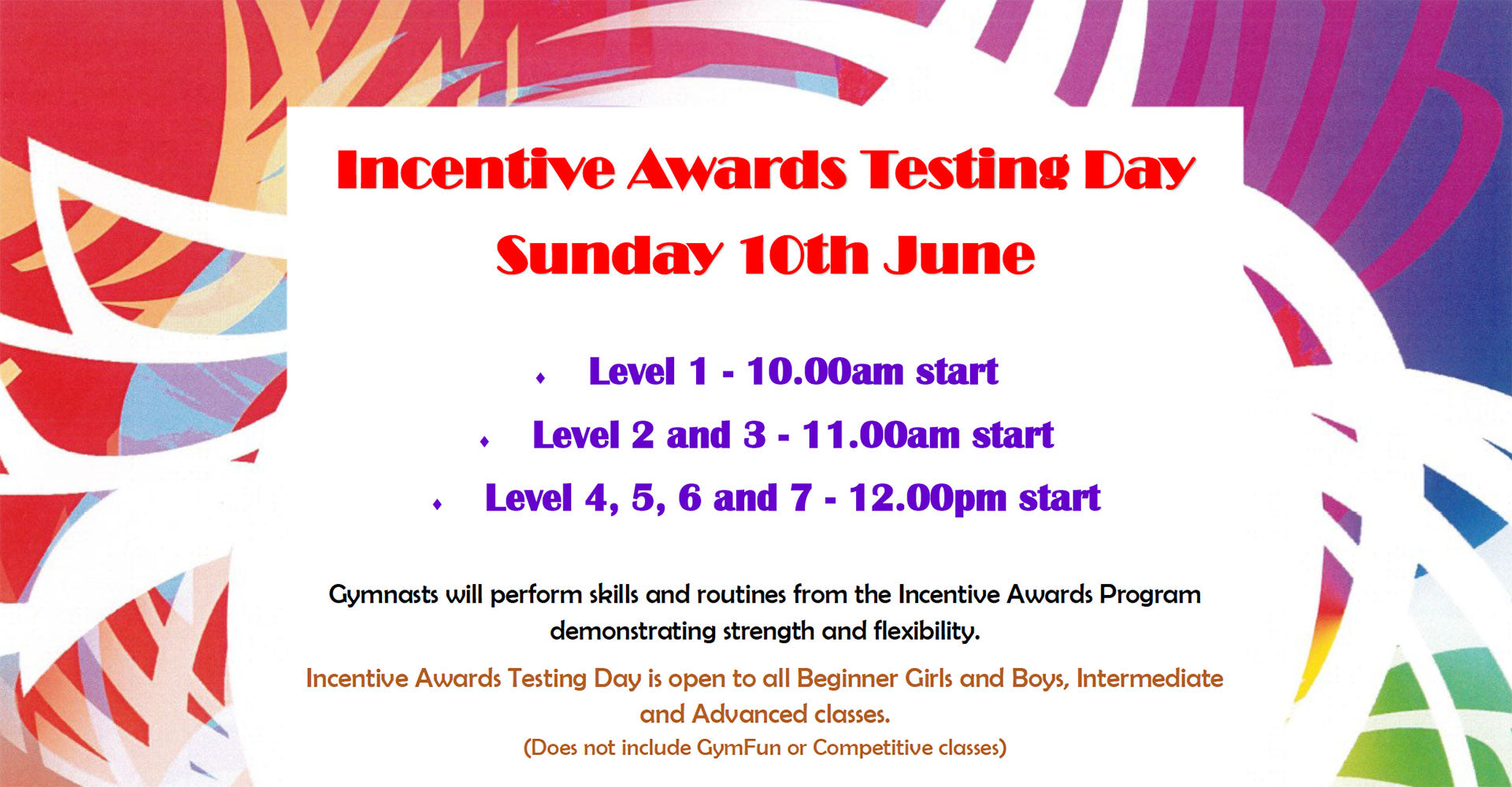 Incentive Awards - Sunday 10th June 2018