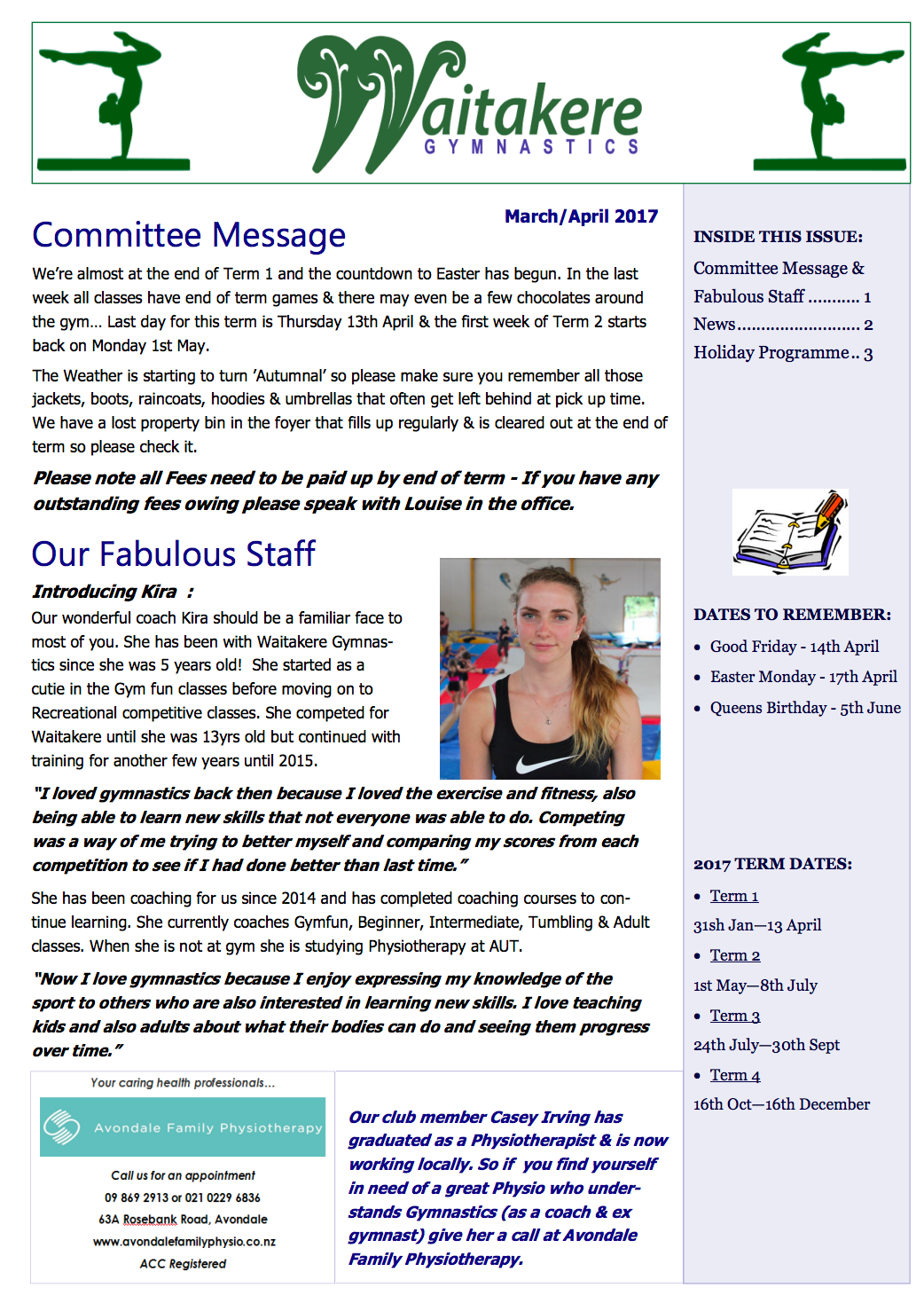 March April Club Newsletter
