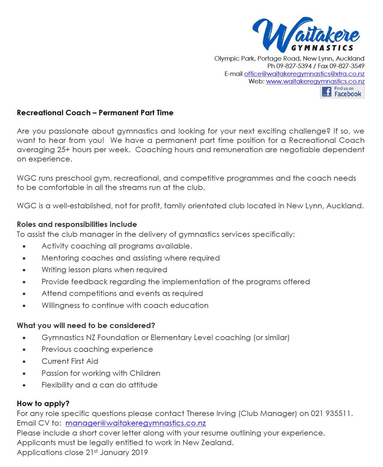 Rec Coach Wanted