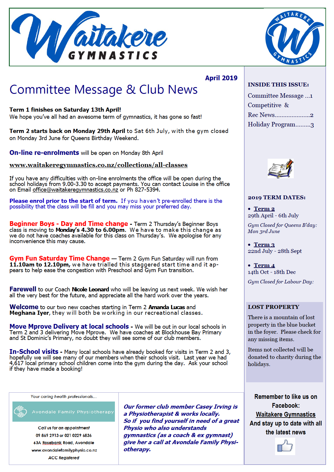April 2019 Club Newsletter