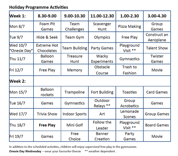School Holiday Programme July 2019