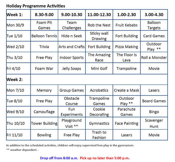 School Holiday Programme September/October 2019