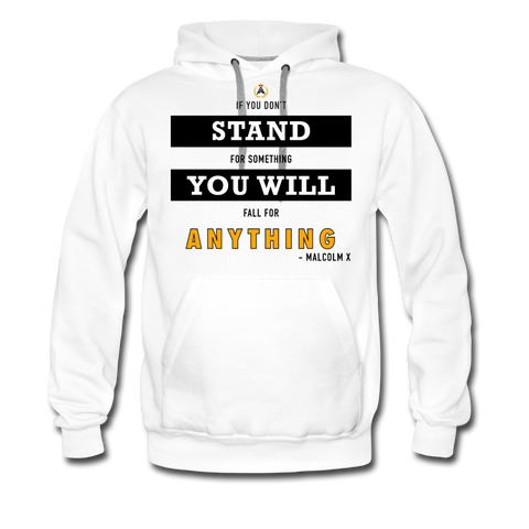 STAND FOR SOMETHING MEN'S HOODIE - WHITE - white