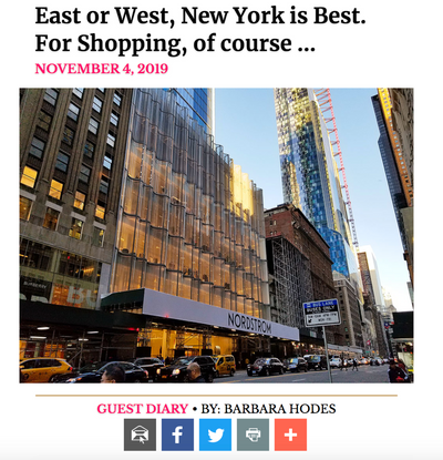 New York Social Diary : East or West, New York is Best. For Shopping, of course …