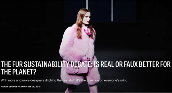 FASHIONISTA -  THE FUR SUSTAINABILITY DEBATE: IS REAL OR FAUX BETTER FOR THE PLANET?