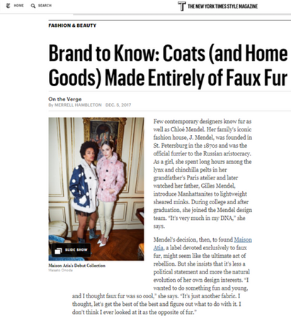 T MAGAZINE - Brand to Know: Coats (and Home Goods) Made Entirely of Faux Fur