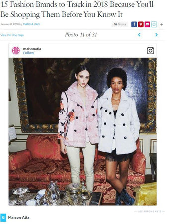 POPSUGAR - Maison Atia Named in 15 Fashion Brands to Track in 2018