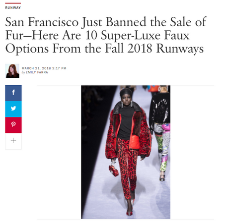VOGUE - Maison Atia mentioned in Vogue's article 'San Francisco Just Banned the Sale of Fur'