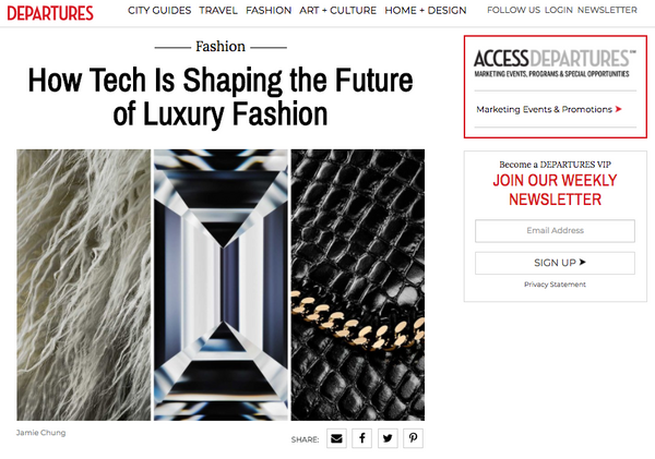 screenshot of 'How Tech Is Shaping the Future of Luxury Fashion' article