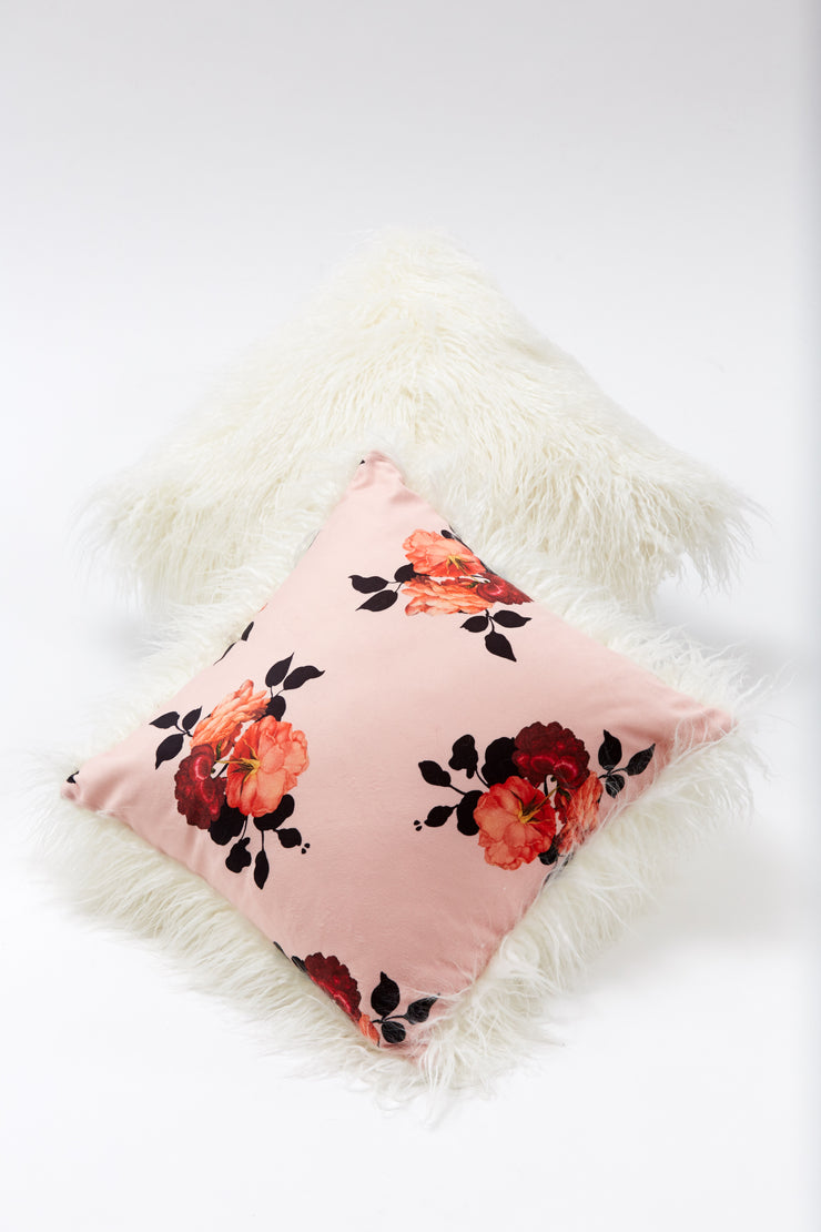 Pillow - Faux Fur Rose floral