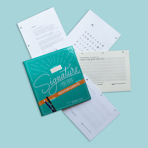 Image of the guide pages, sample alphabets, and worksheets in Create a Signature You Love