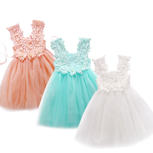 Summer Kids Baby Girl Princess Dresses Lace Tulle Flower Fancy Backless Sleeveless Dress Gown Formal Party Dress 2-7Y
