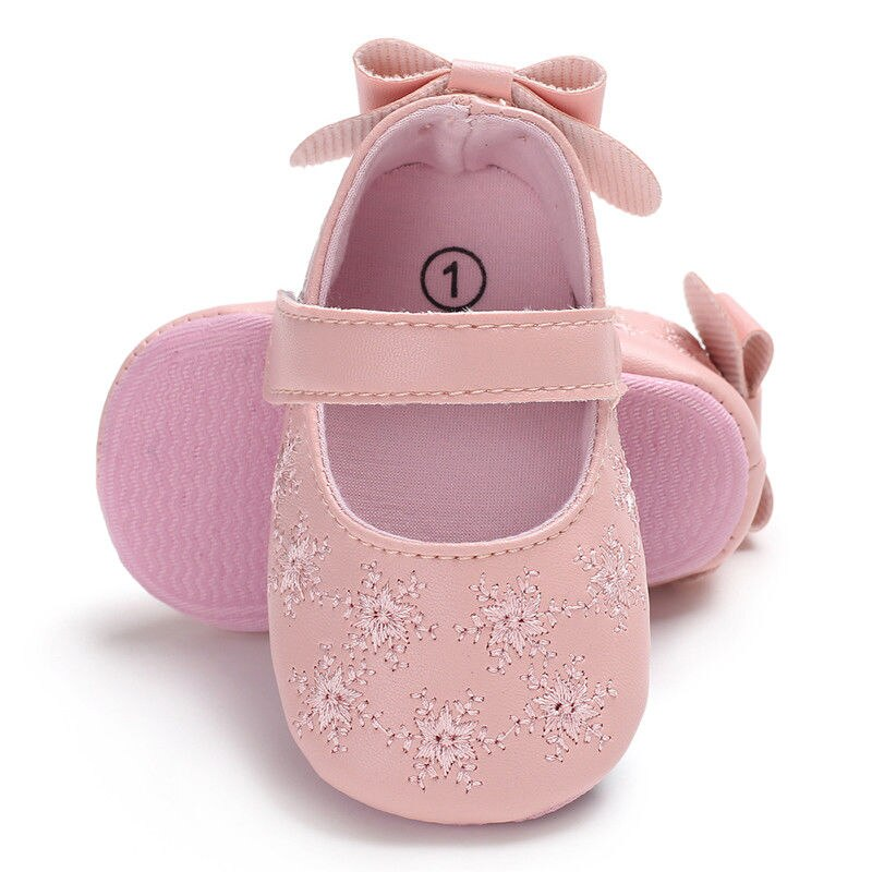 Cute Baby Kids Toddler Infant Girls Flat Wedding Party Princess Shoes Brown//Pink