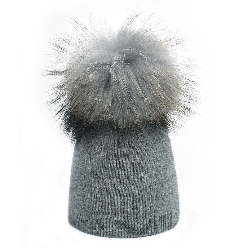 cababc4a Children's Knit Beanie Hat Dyeing Raccoon Fur Pom Pom Winter Hat Boy Girl  Warm Skullies Bone Brand Kids Baby Soft Cap