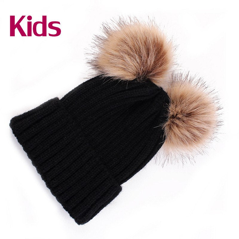 DARCHROW Cute Winter Mom Women Baby Kids Crochet Knitted Hat Caps Children  Girl Boy Wool Fur eff825960