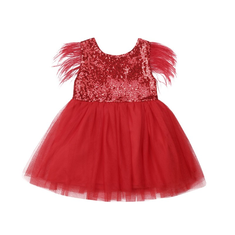 cf1332d5834f4 Toddler Baby Girl Princess Kid clothes round neck sleeveless Tassel Tulle  Polyester backless Sequin Party Mini Dresses one piece