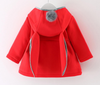 Baby Girls Jacket Autumn Winter Long-sleeved Red Rabbit Ear Hood Cotton Thick Coat For Toddler Girl Clothes