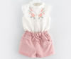Girls clothing sets summer kids clothes sleeveless flowers embroidered shirt + shorts 2pcs suit girls clothes set