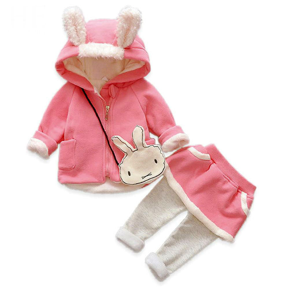1d3f6671e588 Baby girl clothes sets autumn winter long-sleeved cartoon thick warm ...