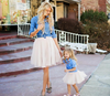 Mother daughter dresses clothes family matching outfits fashion long-sleeved denim shirt + tutu skirt 2pcs
