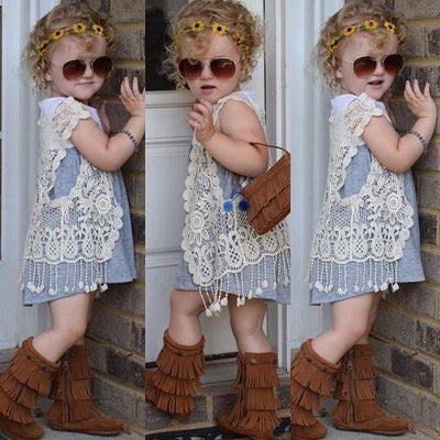 Summer waistcoat for Kids casual vest girls White Beige One Piece Clothes Sleeveless Tassel Vest for 2-6 years
