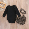 Autumn style infant clothes baby clothing sets Leopard Baby Girls Long Sleeve Romper Pants Bottoms 3PCS Outfits Clothes Set