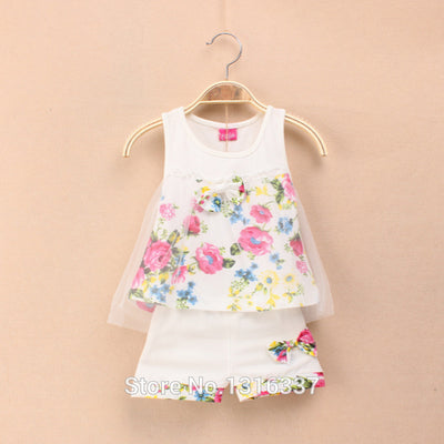 New summer girls clothing sets fashion children girls lace floral bowknot vest shorts 2 pic clothing suits girls