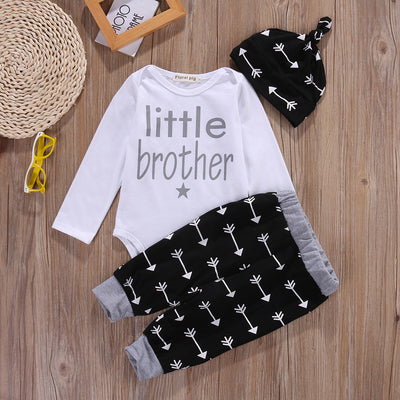 Autumn style infant clothes baby clothing sets Newborn Baby Boy Romper +Pants Leggings+Hat Pajamas 3pcs Outfits Set 6-12M
