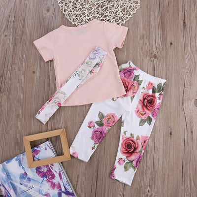 Baby girl clothes newborn infant clothing Set Headband +T-shirt+ Floral Pants baby