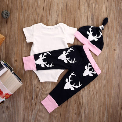 Autumn Cute Newborn Baby Girl Clothes Deer Shoet Sleeve Romper + Pants Casual Hat Cap 3pcs Outfits Set Autumn