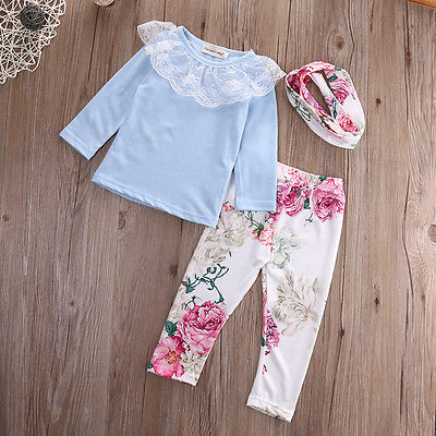 3Pcs! Autumn baby girl clothes Lace Long sleeve t shirt + Flower pants+ headband 3pcs suit newborn baby girl clothing set