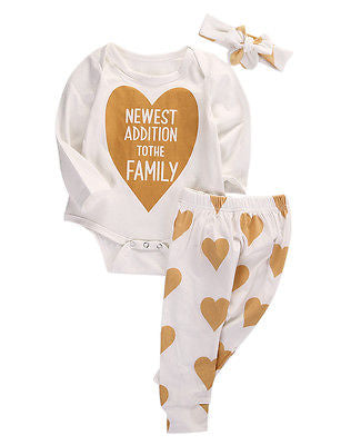 3Pcs Christmas set! Cute Infant Baby Girls Heart Family Cotton Romper+ Pants +Headband 3pcs Outfits Set