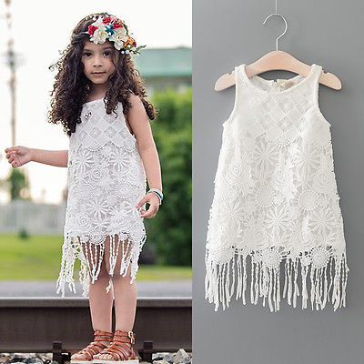 6a19d432521ab Summer Cute Kids Baby Girl Dress Lace Floral Tassel Lace Party Dress  One-piece Sundress 1-6Y