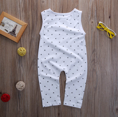 Cotton Newborn Baby Girl Boy Sleeveless Polka Dot Romper Cotton Letter Jumpsuit Playsuit Outfits